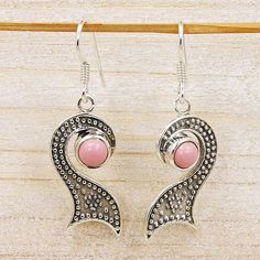 Midnight Kiss Earrings Pink Opal Earrings & by TheSilverPlaza