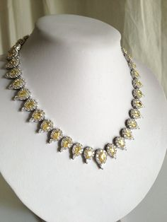 Vintage Sterling Silver Yellow Diamond Estate Jewelry Necklace, via Etsy.