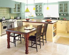 editors picks our favorite green kitchens - Kitchen Island With Table Attached
