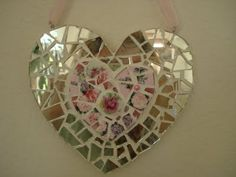 hearts with lots of PINK China and broken Mirror