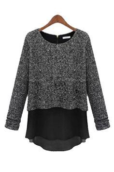 Love the Layers! Love the Chiffon Underlay! Grey and Black Layered Sweater Fashion #Layered #Sweater #Fashion