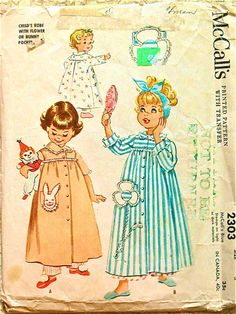 Vintage 1950s McCalls 2303 printed pattern for childs by Fancywork, $6.95