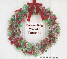 chick chick sewing: Fabric rag wreath tutorial 布リース作りかた