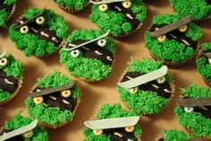skateboard cupcakes: the wheels are out of candy necklace pieces