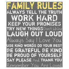 Family Rules Wall Art I in Gray