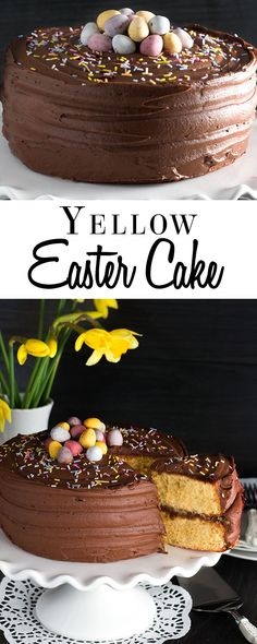 This recipe for Yellow Celebration Cake with Chocolate Frosting makes an extra light and fluffy version of this simple classic - topped with mini eggs, it's a showstopping Easter cake or with simple sprinkles, it's a traditional birthday cake. via @Erren's Kitchen