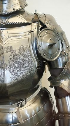 Close up of left sabaton of Field Armor made in Nuremberg Germany 1540 CE with modern alterations including breastplate engraving (1) | Flickr - Photo Sharing!