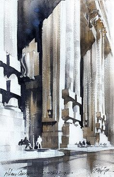 Milano Centrale Thomas W Schaller Plein-Air Watercolor Sketch inches - 01 May 2019 Watercolor Images, Watercolor Sketch, Watercolor Artists, Watercolor Landscape, Watercolor Paintings, Watercolors, Artwork Images, Art Pictures, Art Thomas