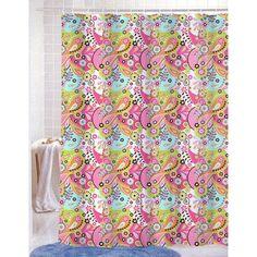 PVC Free (PEVA) Printed Shower Curtain, Fun Colorful Paisley Floral Print, 70x72, Kelsey