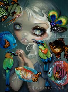 Poissons Volants: Les Oiseaux - New Contemporary Pop Surrealism by Jasmine Becket-Griffith - flying fish - rococo big eye art by Strangeling surreal art