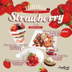 只今開催中の「ストロベリーフェア」4月下旬終了予定 2021年新登場のストロベリーパフェをはじめ、モンスーンカフェの個性派ストロベリースイーツの豪華ラインナップ Strawberry Parfait, Monsoon, Pudding, Custard Pudding, Puddings, Avocado Pudding