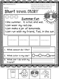 Download free printables at preview. Short vowel story. Summer review Literacy No Prep - Kindergarten. An excellent pack with a lot of sight word, short vowel, long vowel, spelling, vocabulary, word work, reading, fluency and other literacy activities and practice