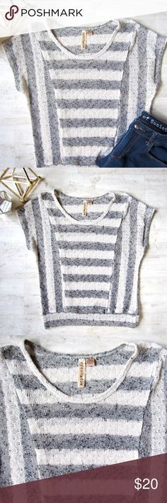 Gray & Cream Striped Top A simple grey & off-white striped top. Loose & stretchy. 100% polyester. Great condition. Eyeshadow Tops Blouses