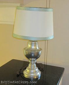 Simple Lamp Shade Ribbon Trim - DIY on the Cheap by Erin Spain
