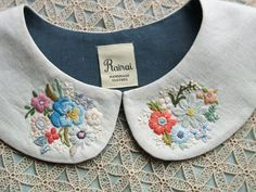 Old-fashioned and lovely. The pattern of the shirt looks cool too Diy Embroidery, Cross Stitch Embroidery, Embroidery Patterns, Machine Embroidery, Sewing Patterns, Broderie Simple, Sewing Collars, Peter Pan Collars, Techniques Couture