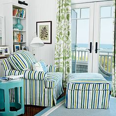 Cozy reading nook in a beach house bedroom