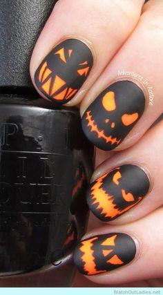 Halloween manicure ideas scary pumpkin
