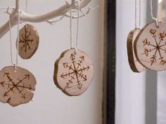 Wooden Snowflake Ornaments Christmas Ornament by LaLuneArtStudio