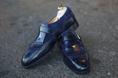 Edward Green - Navy Cordovan and Midnight Blue Suede on the square-toed 888 last