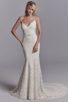 Maxwell by Sottero & Midgley Wedding Dresses. Beautiful lace V-neckline bridal gown with fitted skirt.  Collection starts at $1,200 & up. Make an appointment at Precious Memories in Boston, Ma. 781-397-1336. Wedding Dresses Photos, Designer Wedding Dresses, Bridal Dresses, Wedding Gowns, Boho Wedding, Dream Wedding, Elegant Wedding, Wedding Ceremony, Elegant Gown