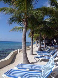 White sandy beaches, blue water, Cozumel, Mexico