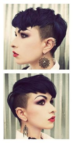 35 Vogue Hairstyles for Short Hair Easy Shaved Pixie Haircuts Love Hair, Great Hair, Awesome Hair, Pixie Hairstyles, Cool Hairstyles, Short Haircuts, Moda Rock, Shaved Pixie, Shaved Hair