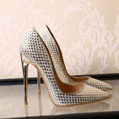 Woman High Heels Women Pumps Stiletto Thin Heel Women s Shoes Silver  Pointed Toe High Heels Party Wedding Shoes -- This is an AliExpress  affiliate pin. 14b72f19da4c