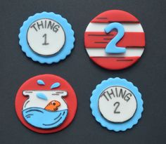 12 Dr. Seuss Cat in the Hat Fondant Cupcake Toppers by bakerslovebakery on Etsy