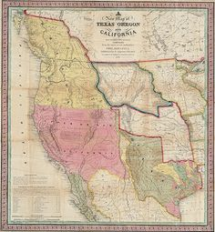 Map of Texas, California and Oregon 1846 #map #usa