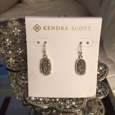 "Kendra Scott Lee Earrings 1"" drop; 3/8"" width. French wire. 14k-gold plate/ drusy agate I bought these to go with the necklace I listed yesterday... Which was sold. They're gorgeous. Worn once. Kendra Scott Jewelry Earrings"