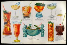 1950's drink menu, inside page spread cocktail menu from Outrigger - New Orleans, LA