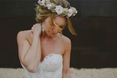 Gorgeous bride wearing floral crown, photo by Ed Peers | via junebugweddings.com