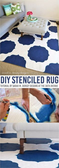 Easy DIY Rugs and Handmade Rug Making Project Ideas - DIY Stenciled Morrocan Rug - Simple Home Decor for Your Floors, Fabric, Area, Painting Ideas, Rag Rugs, No Sew, Dropcloth and Braided Rug Tutorials http://diyjoy.com/diy-rugs-ideas