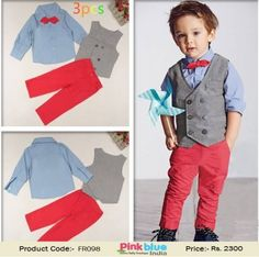 8f9fed96631f Kids 3 Piece Outfit Suit Grey Waistcoat with Bow Tie Shirt and Pink Trouser