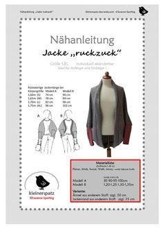 ebook und Nähanleitung Jacke Bolero Shrug von kleinerspatz auf DaWanda.com