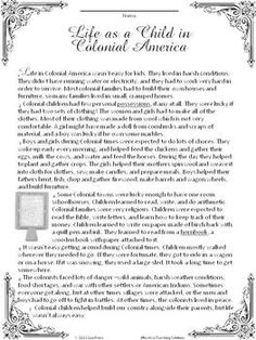 A Child's Life in Colonial America Reading Comprehension Passage $
