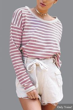 Look cute in pure comfort with the Stripe T-shirts! Made from a faded magenta and cream striped fabric with textured fabric on the inside, it features a high rounded neckline, full length sleeves and textured cuffs and neckline. Complete the look with a pair of shorts and sneakers!