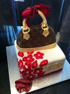 Jocelyn's Wedding Cakes and More....: Louie Vuitton Purse Cake/40th Birthday Cake