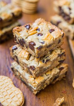 Peanut Butter Chocolate Chip Nutter Butter Bars - Soft & chewy bars packed with chocolate & chunks of Nutter Butter cookies!