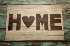 "Instead of heart use ""mitten"" for Michigan. large wood sign - distressed - HOME"