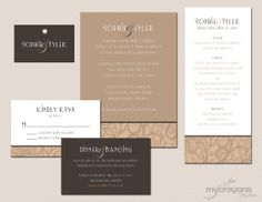 1920s Art Deco Wedding Invitation Suite by MyCrayonsPapeterie in white and brown tones