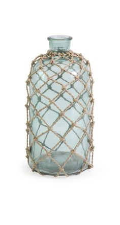 Cornell Small Aqua Bottle in Rope Netting