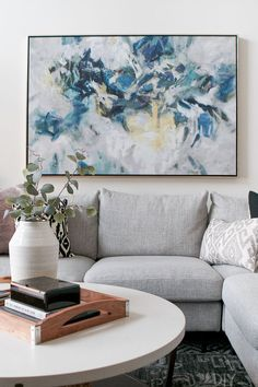 Purchased from Horchow A blue and neutral piece of art over the couch. Love this large modern art hung over a gray sectional in the family room Brown And Blue Living Room, Blue Living Room Decor, Rooms Home Decor, Room Wall Decor, Living Room Art, Living Room Designs, Family Room Decorating, Family Room Design, Art Over Couch