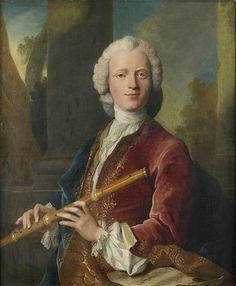 Portrait présumé de Michel Blavet, jouant de la flûte traversière, avec une partition de musique, 1720 Henri Millot