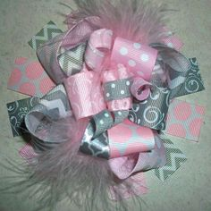 From My Fabulously Fun Hair Bow Line. ♥Light Pink And Grey Chevron Hair Bow Is Made With Multiple Fun Layers Of Vibrantly Colored Ribbon With Ribbon Crafts, Ribbon Bows, Hair Bow Tutorial, Baby Hair Bows, Bow Accessories, Making Hair Bows, Diy Bow, Girls Bows, Cute Bows