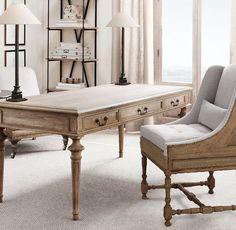 French Partner's Desk Home Office Design, Home Office Decor, Office Furniture, Home Design, Home Decor, Design Desk, Library Design, Furniture Nyc, Furniture Outlet