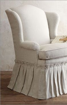 Gorgeous Slipcover With Button U0026 Pleated Skirt On Wingback Chair