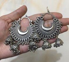 Oxidised Silver-Toned Afghani Chandbali Earrings with Jhumka Attachments Silver Jewellery Indian, Indian Earrings, Silver Jewelry, Ethnic Jewelry, Silver Ring, Oxidised Jewellery, Jewellery Box, Handmade Jewellery, Gold Hoop Earrings