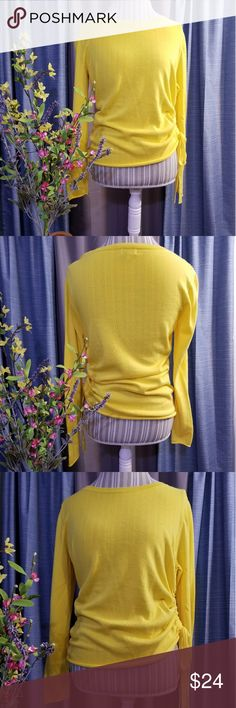 🌻🌺🌻CROWN & IVY YELLOW SWEATER WITH ROUCHED SIDE SIZE:medium   BRAND:Crown & Ivy   CONDITION:NWOT   COLOR:yellow (best seen in last photo)  Has cute rouched side that ties. Get it before Easter! Perfect for spring!   🌟POSH AMBASSADOR, BUY WITH CONFIDENCE!   🌟CHECK OUT MY OTHER ITEMS TO BUNDLE AND SAVE ON SHIPPING!   🌟OFFERS WELCOME!   🌟FAST SHIPPING! crown & ivy Sweaters