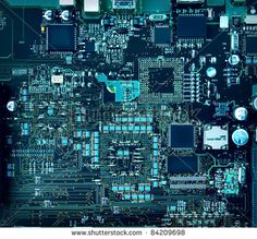 Inside computer, hardware motherboard components and circuits